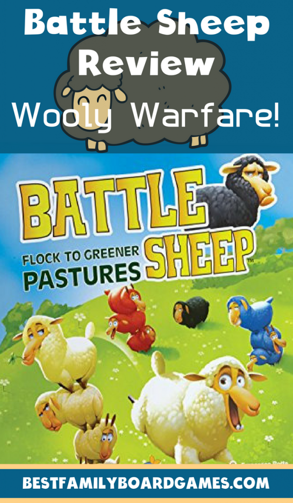 Battle sheep review- Photo of the Battle Sheep game cover with text overlay.