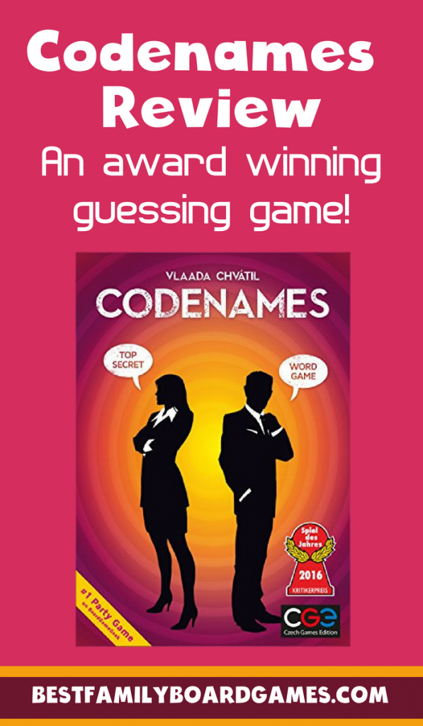 Codenames game review- Photo of the Codenames game cover with text overlay.
