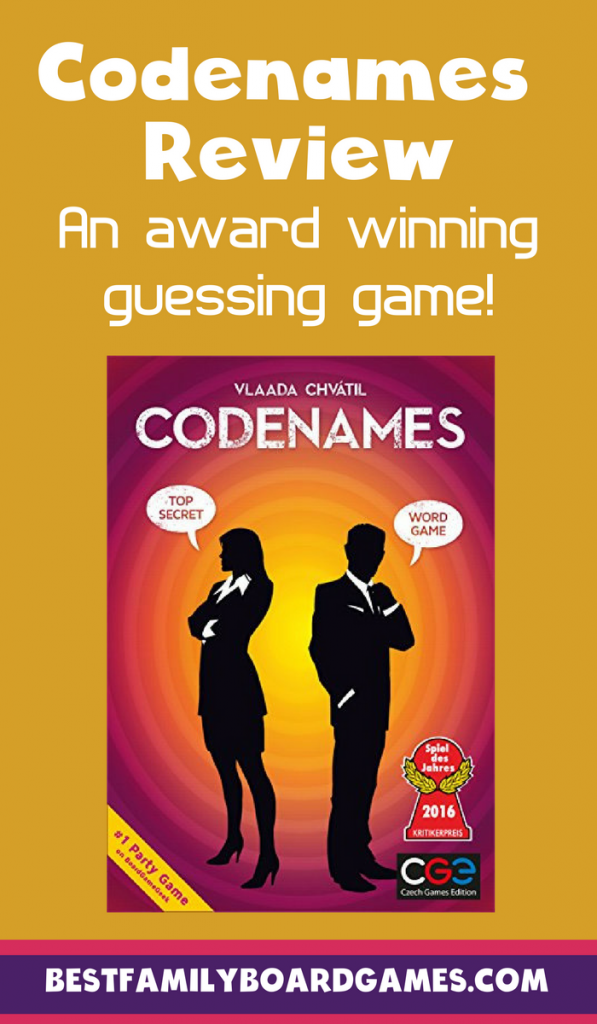 Codenames review- photo of the Codenames game box with text overlay.