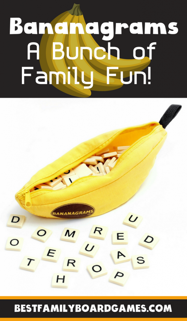 Bananagrams game review- photo of Bananagrams game components with text overlay.