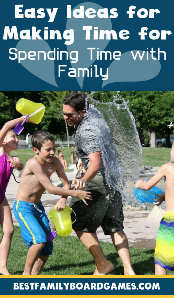 Photo of a dad having a water fight with his kids- Fun ways to make time for family time