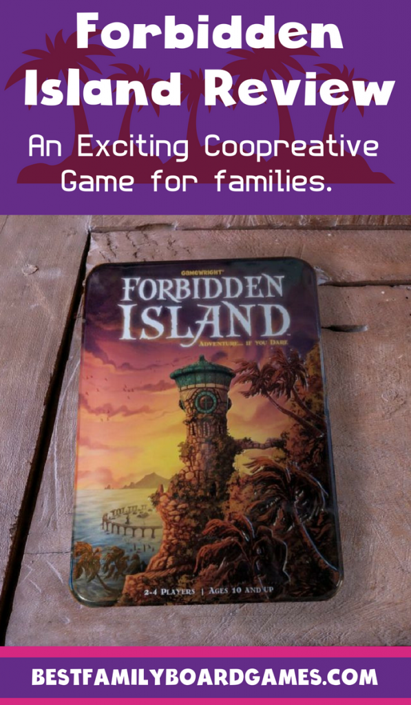 Forbidden Island review- photo of Forbidden Island game box on a wooden table top.
