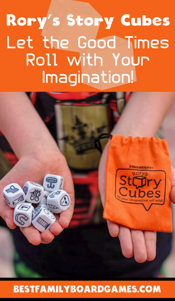 Rorys Story Cubes review- photo of rorys story cubes and carrying bag in each hand of a child