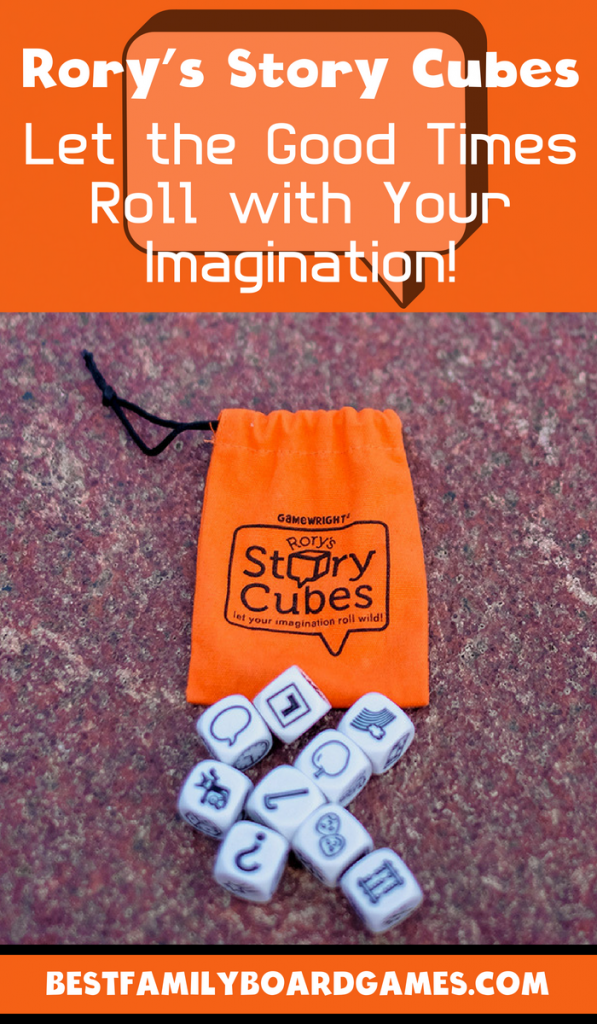 Rorys Story Cubes review- photo of rory's story cubes with carrying bag.