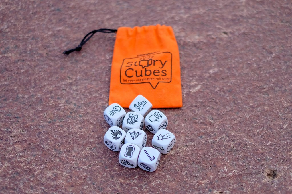 Rory's story cubes review- photo of Rory's story cubes and the bag to carry them.